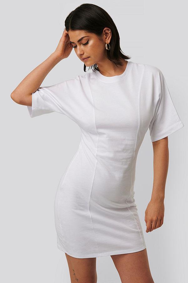 NA-KD T-Shirtklänning vit