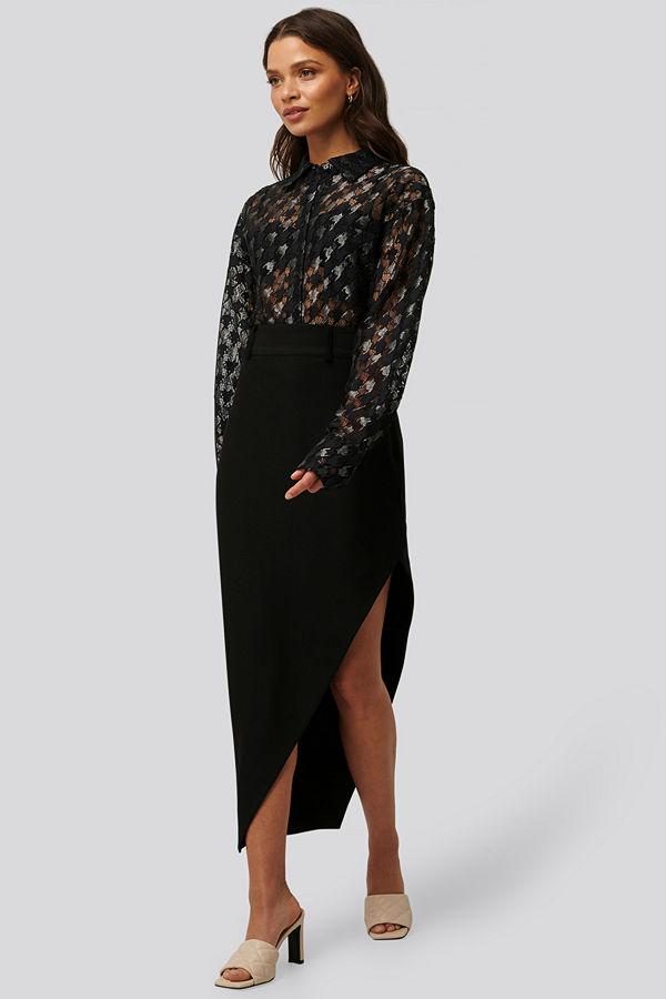 NA-KD Classic Maxi Tailored Asymmetric Skirt svart