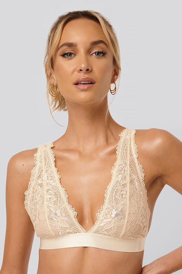 NA-KD Lingerie Soft Lace Bra beige