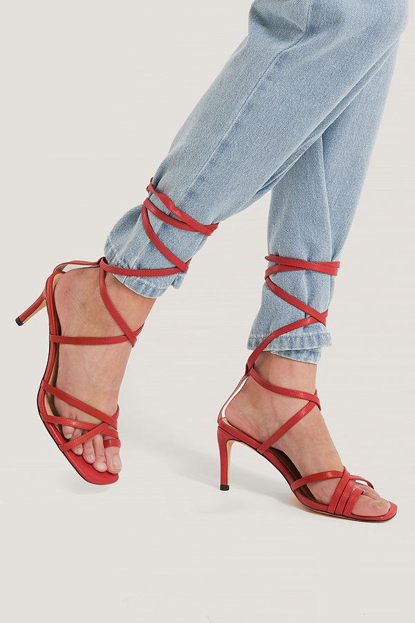 NA-KD Shoes Ankle Strap Stiletto heels röd