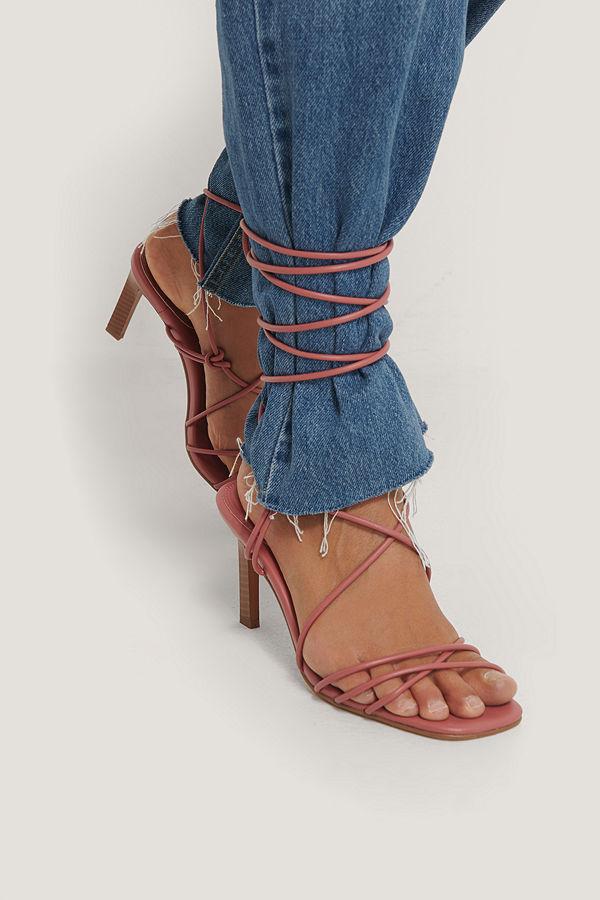 NA-KD Shoes Högklackade Med Remmar Över Vaden rosa