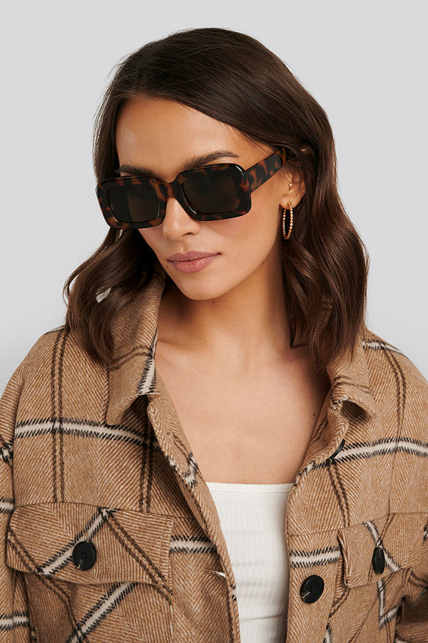NA-KD Accessories Big Retro Square Sunglasses brun