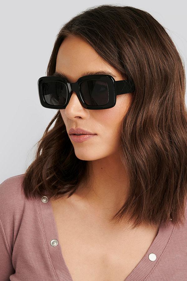 NA-KD Accessories Big Retro Square Sunglasses svart