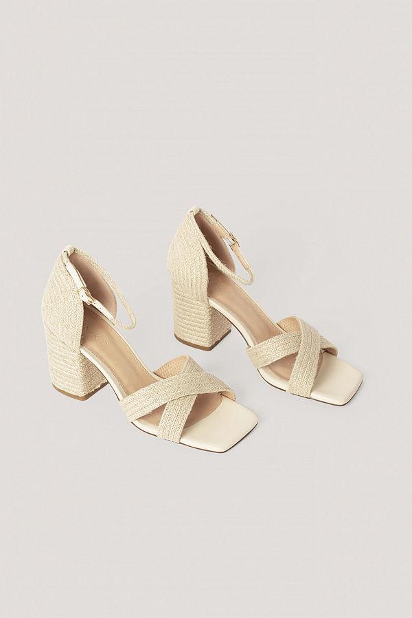 NA-KD Shoes Braided Raffia Heels nude