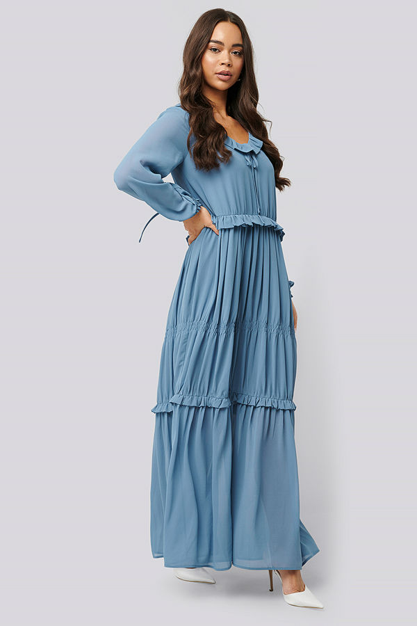 NA-KD Boho Multi Frill Flowy Dress blå