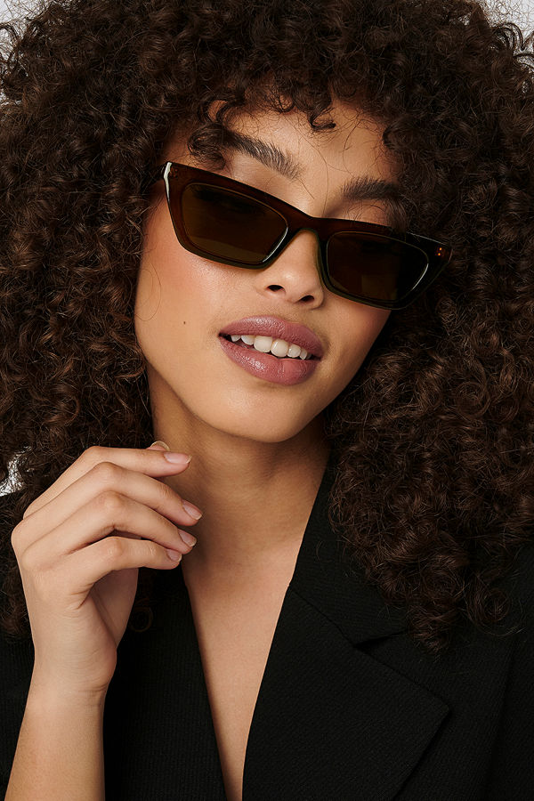 NA-KD Accessories Sharp Edge Slim Sunglasses brun