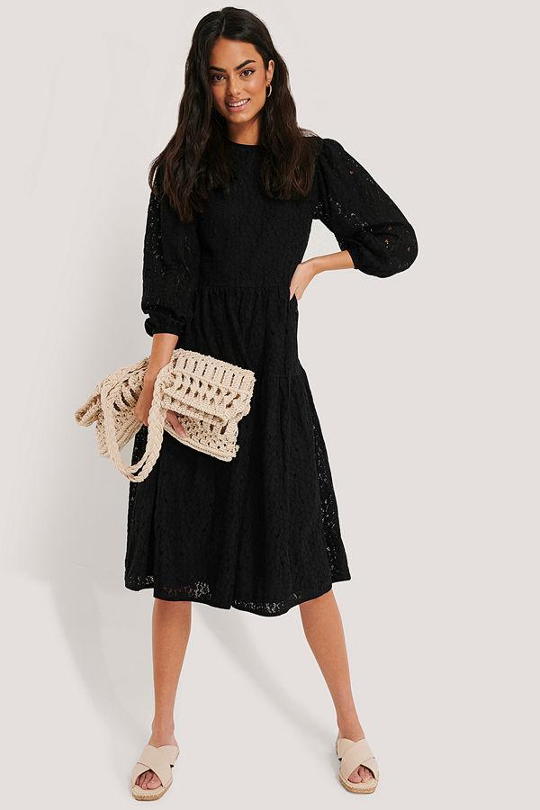 NA-KD Boho Spetsklänning Med Puffärmar svart
