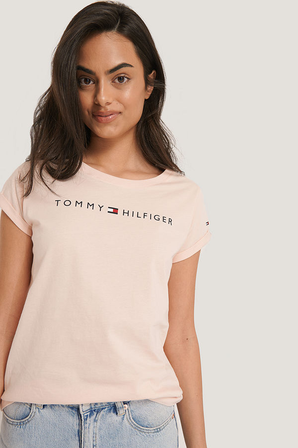 Tommy Hilfiger Logo Flag Tee rosa