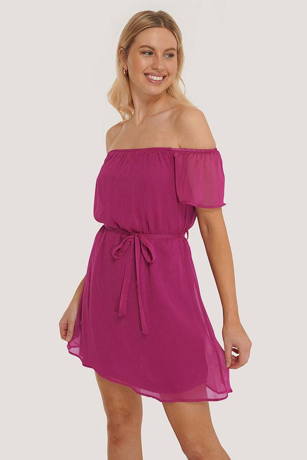 Trendyol Miniklänning I Offshouldermodell Med Bälte lila