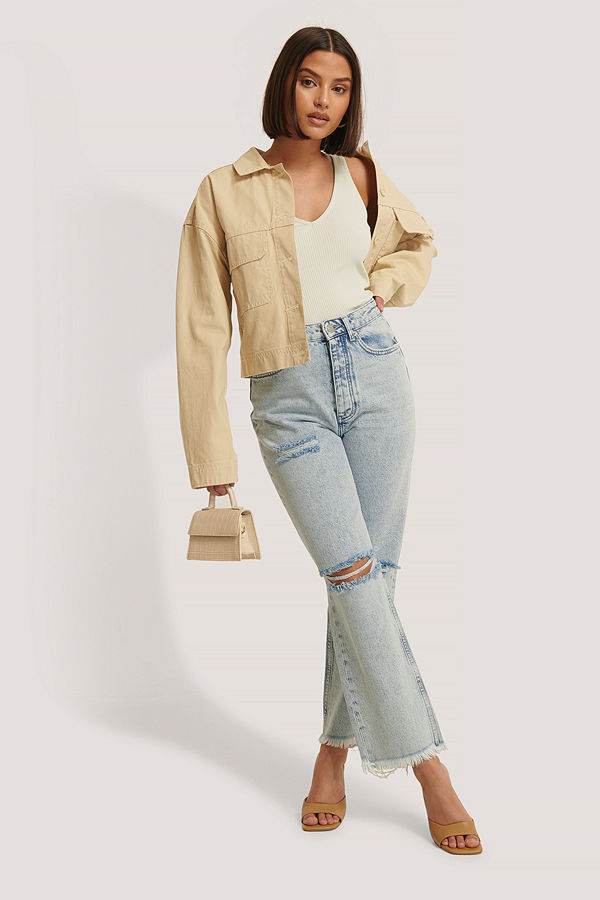 NA-KD Trend Slitna Jeans Med Hög Midja blå