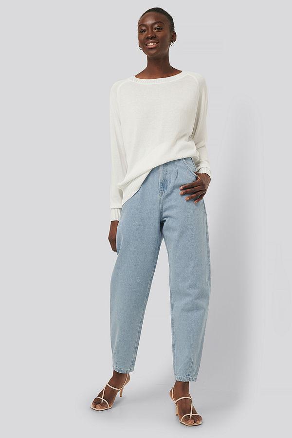 NA-KD Reborn Recycled Croppade Jeans Med Ballongben blå