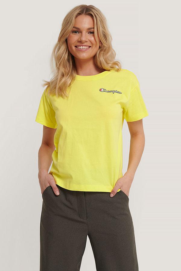 Champion T-Shirt Med Rund Halsringning Och Logo gul
