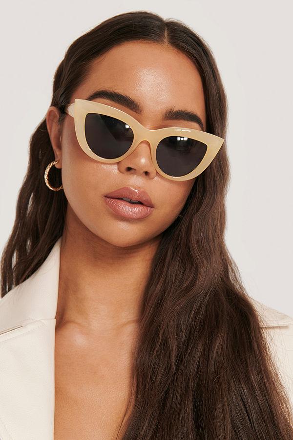 NA-KD Accessories Chunky Pointy Cat Eye Sunglasses beige