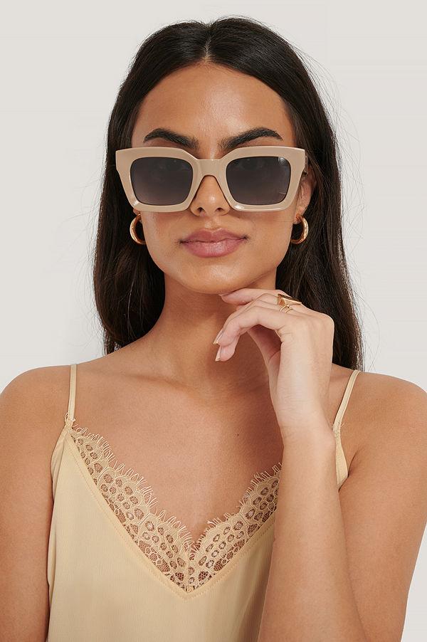 NA-KD Accessories Square Frame Sunglasses beige