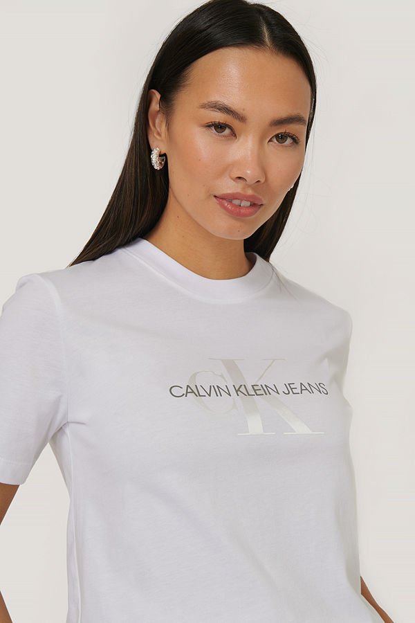 Calvin Klein T-Shirt Med Monogramlogga vit
