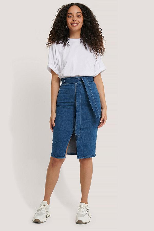 NA-KD Trend Belted Midi Denim Skirt blå