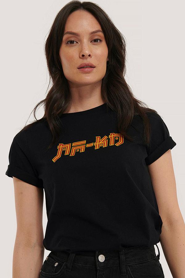 NA-KD T-Shirt Med Na-Kd-Tryck svart