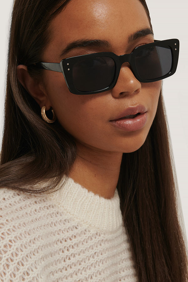 NA-KD Accessories Smala, Rektangulära Solglasögon Med Bred Båge svart