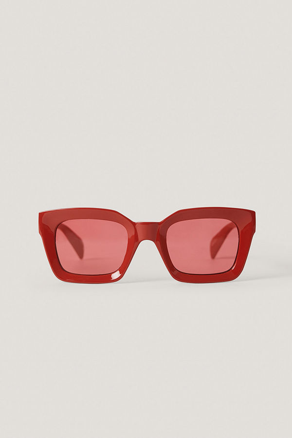 NA-KD Accessories Square Frame Sunglasses röd