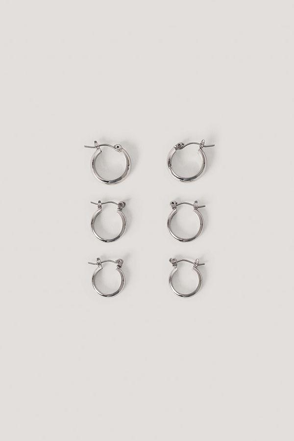NA-KD Accessories smycke 3-Pack Tjocka Basic Hoops silver
