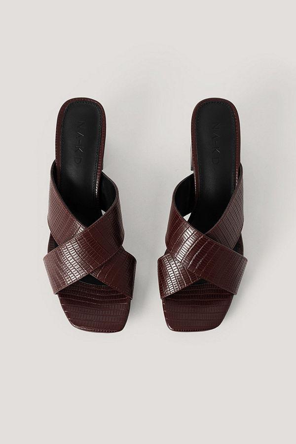 NA-KD Shoes Mules-Sandal Med Korsade Band brun