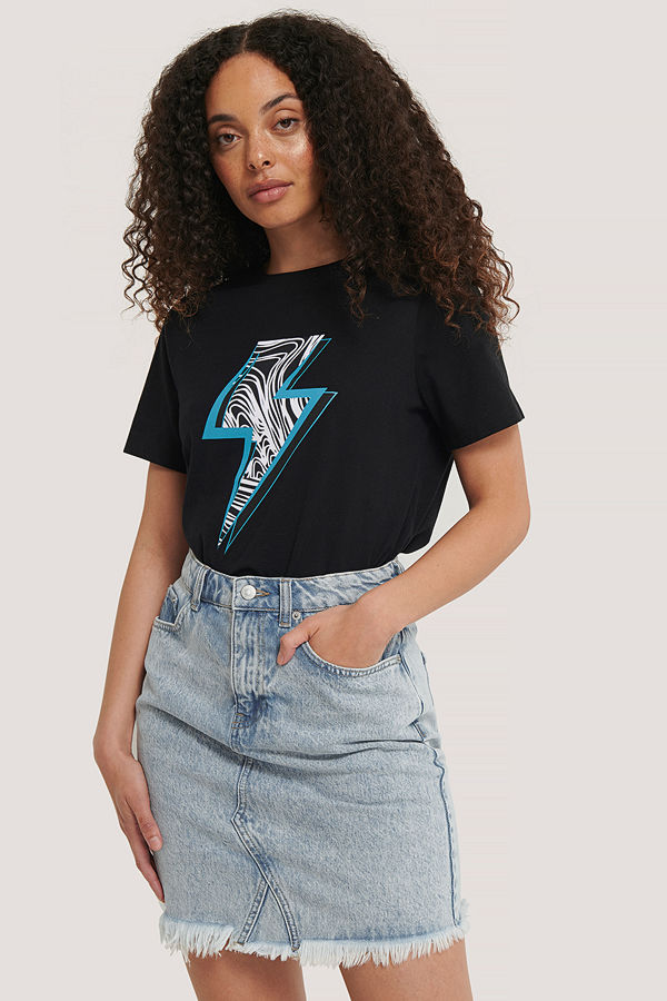 NA-KD T-Shirt Med Tryck svart