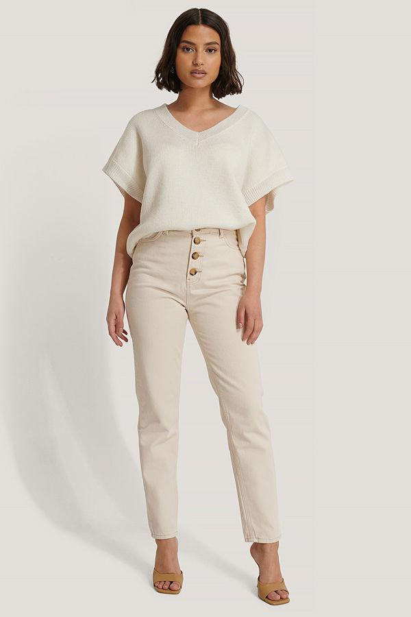 Trendyol Jeans Med Knappar Fram beige
