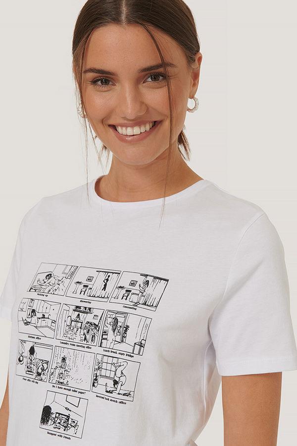 NA-KD Tryckt T-Shirt vit