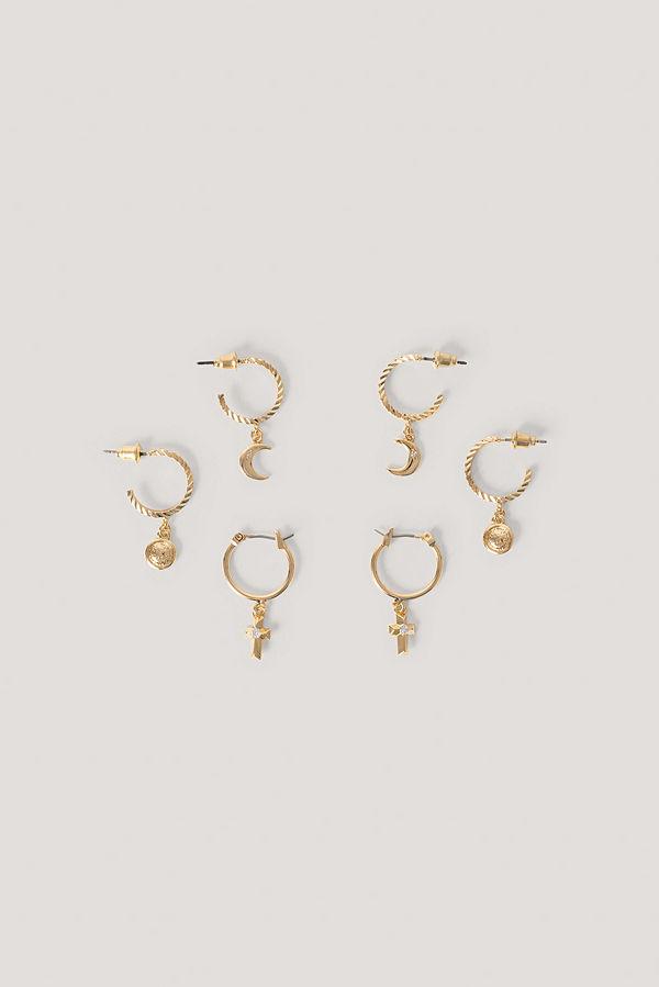 NA-KD Accessories smycke Flerpack Hoops Med Korsmynthänge guld