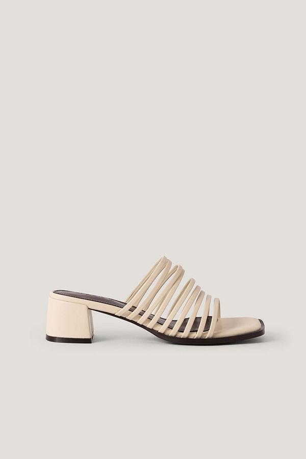 NA-KD Shoes Sandaler Med Blockklack Och Många Remmar beige