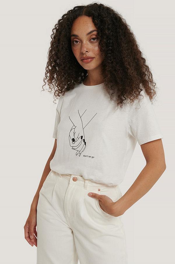 NA-KD T-Shirt Med Holding Hands-Tryck offvit