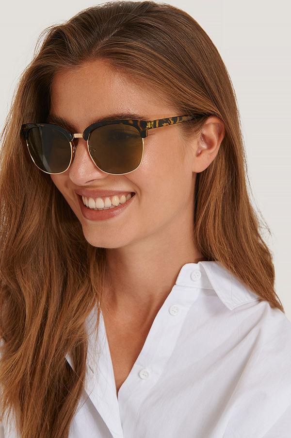 NA-KD Accessories Solglasögon Med Runda Bågar brun