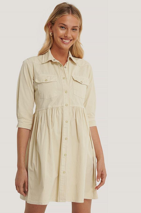 Trendyol Plisserad Skjortklänning beige