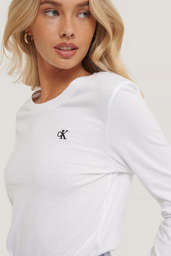 Calvin Klein Broderad T-Shirt vit