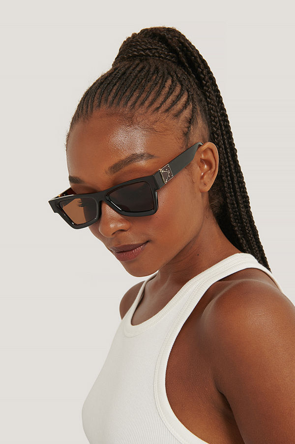 NA-KD Accessories Kantiga Solglasögon Med Sidodetaljer brun