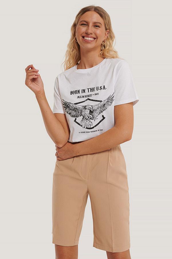 NA-KD T-Shirt Med Örntryck vit