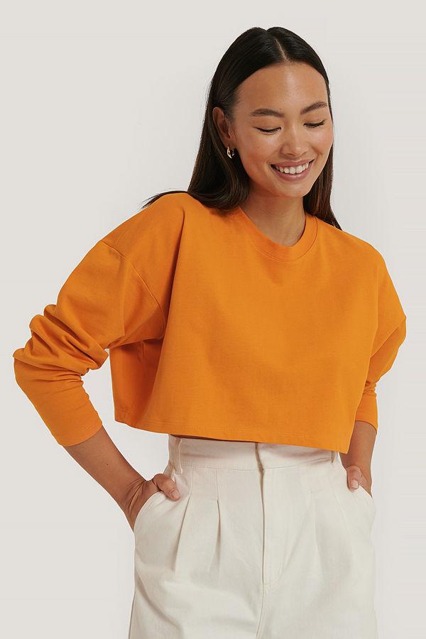 Sara Sieppi x NA-KD Croppad Jersey-Topp orange