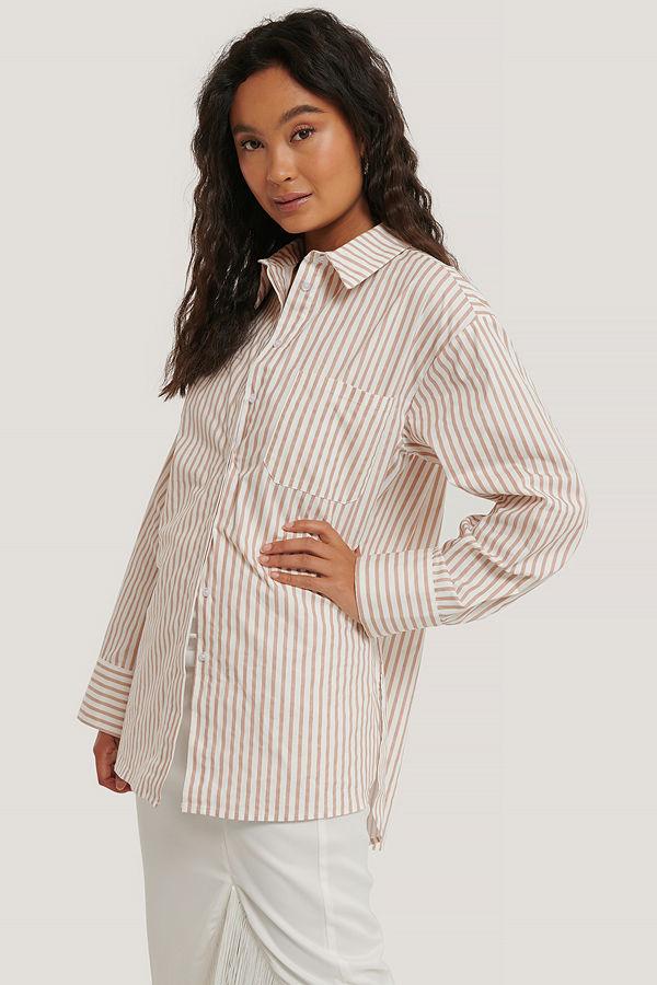 NA-KD Classic Oversize Bomullskjorta Med Ficka vit beige