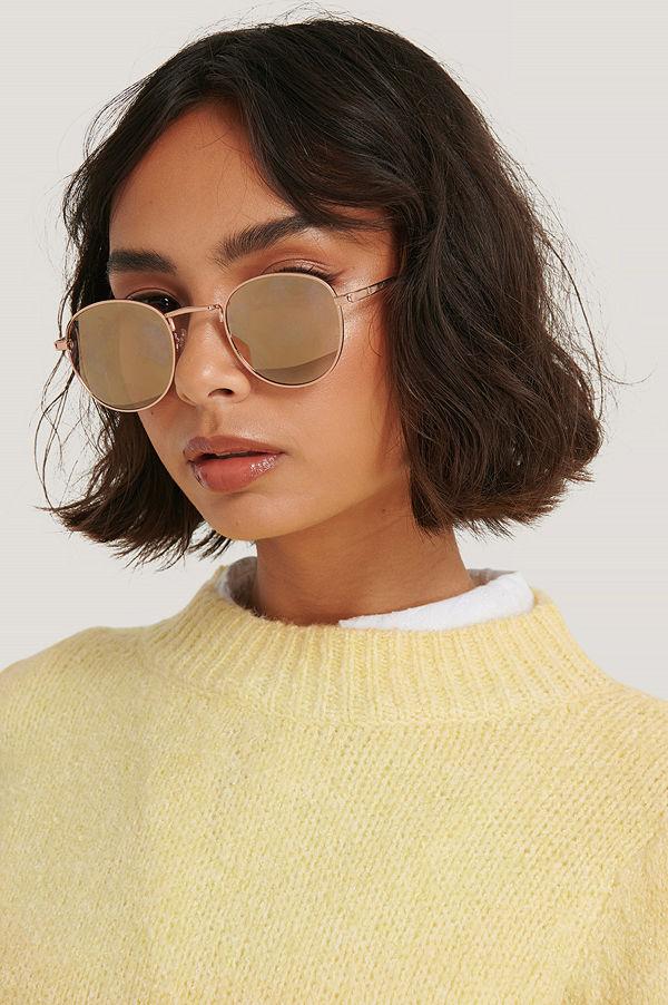 Mango Solglasögon Med Rund Metallbåge guld