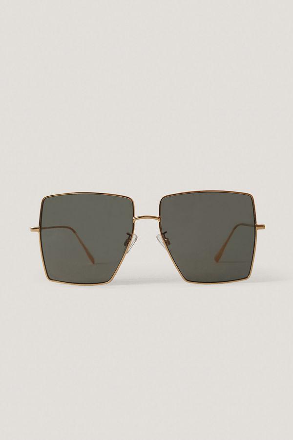 NA-KD Accessories Solglasögon Med Fyrkantiga Bågar guld