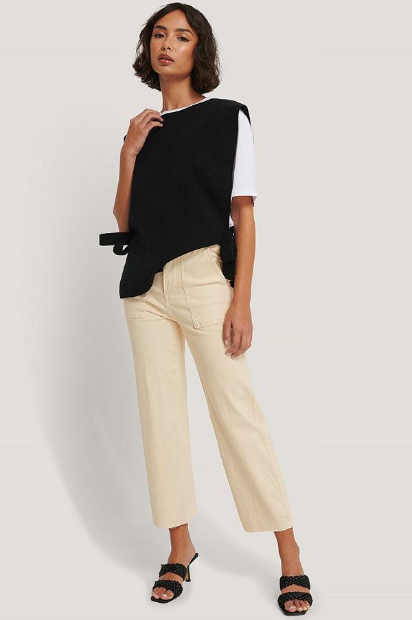 Glamorous Croppade Jeans Med Hög Midja beige