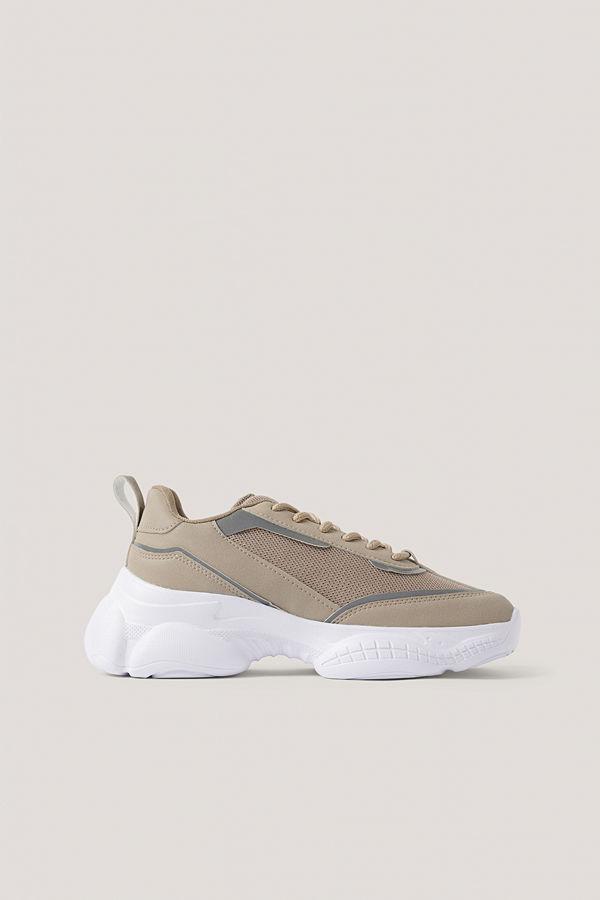 NA-KD Shoes Smala Gympaskor I Meshmix beige