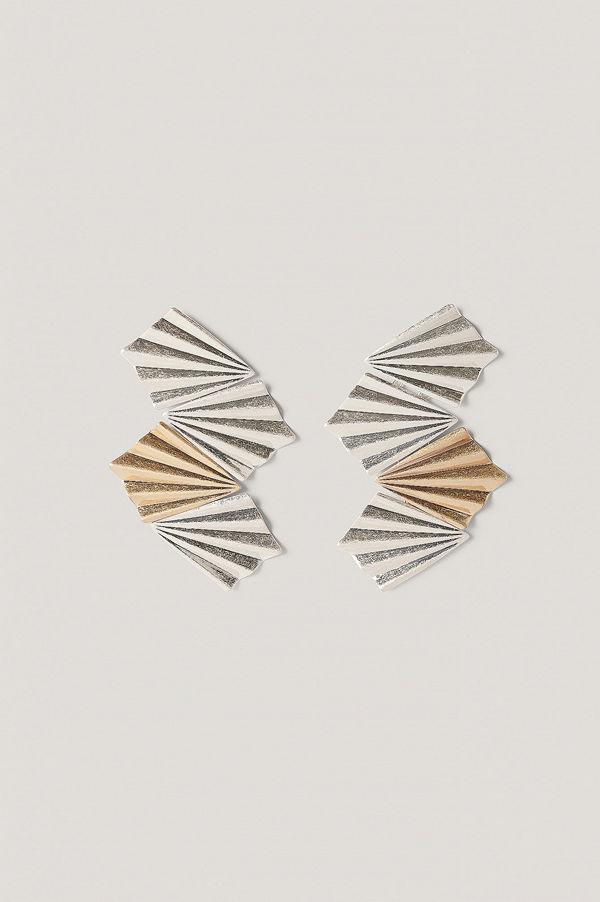 NA-KD Accessories smycke Veckade Örhängen Med Sammankopplade Plattor multicolor / silver guld