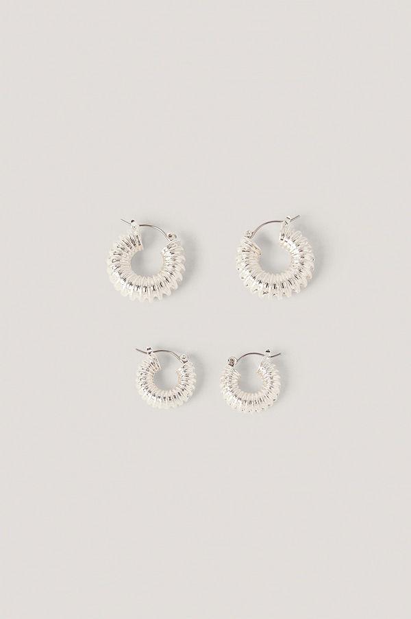 NA-KD Accessories smycke Dubbelpack Tjocka, Veckade Hoops silver