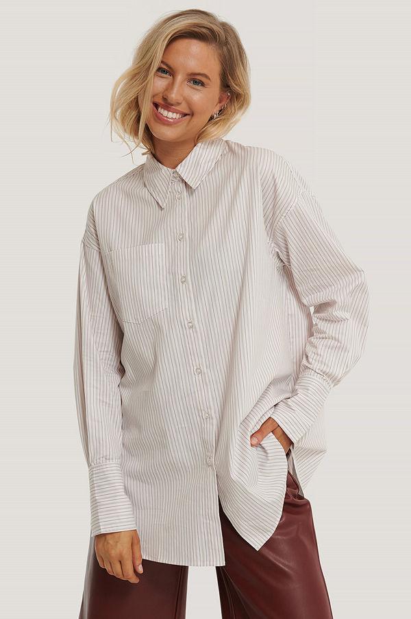 NA-KD Classic Oversize, Randig Skjorta Med Ficka multicolor