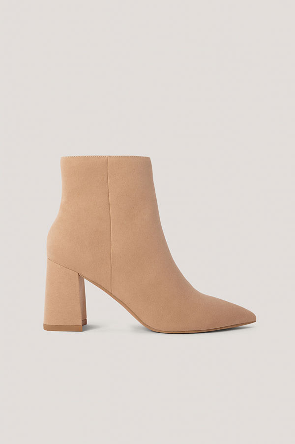 NA-KD Shoes Basic Boots I Mockaimitation Med Lutande Klack beige