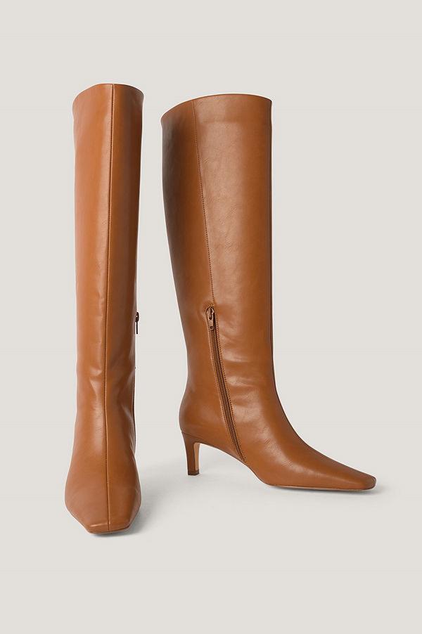 NA-KD Shoes Boots Med Fyrkantig, Lång Tå Och Skaft brun