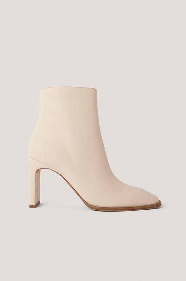 NA-KD Shoes Boots Med Fyrkantig, Lutande Tå beige
