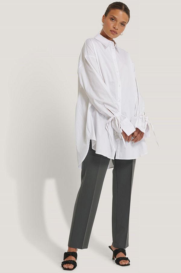 NA-KD Reborn Recycled Skjorta Med Knytärm vit