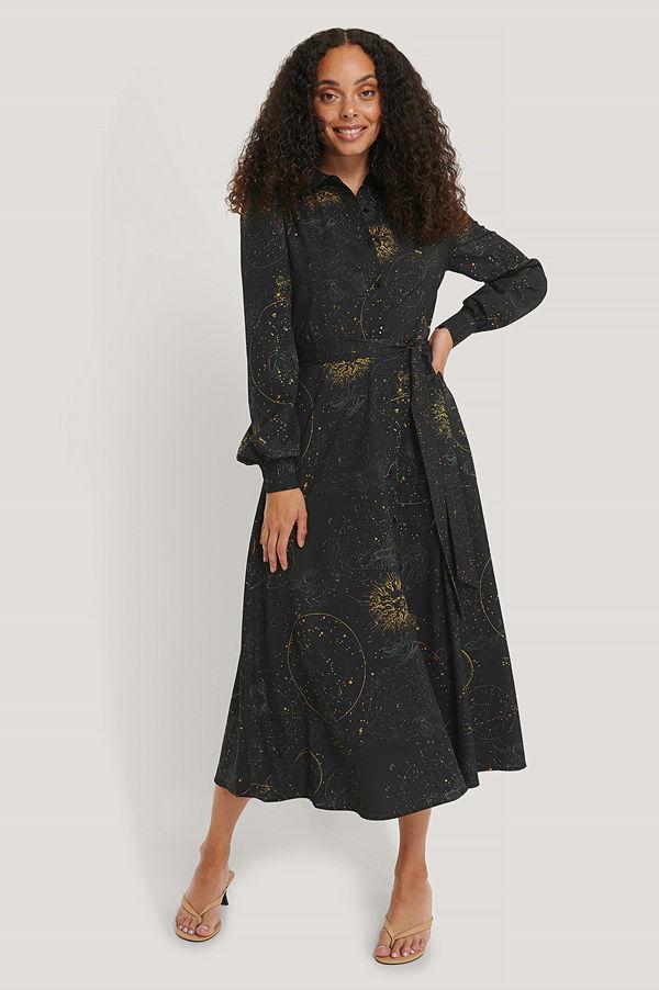 NA-KD Skjortklänning Med Horoskoptryck svart